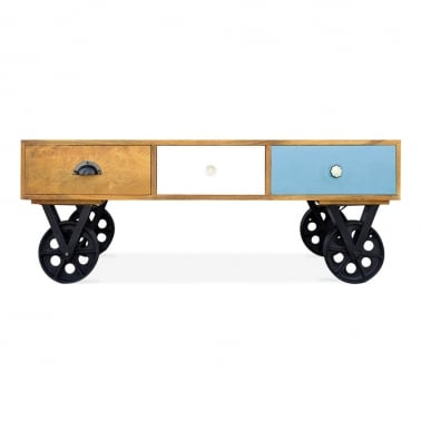 Jasmine Coffee Table With Wheels - Light Blue