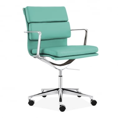 Soft Pad Office Chair with Short Back – Turquoise
