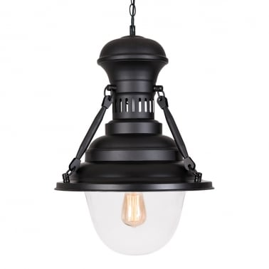 American Country Loft Pendant Light - Matte Black