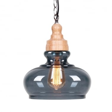 Factory Glass Bowl Pendant Light - Wood / Black
