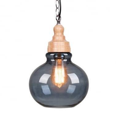 Factory Glass Sphere Pendant Light - Wood / Black