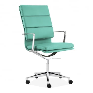 Soft Pad Office Chair with High Back – Turquoise