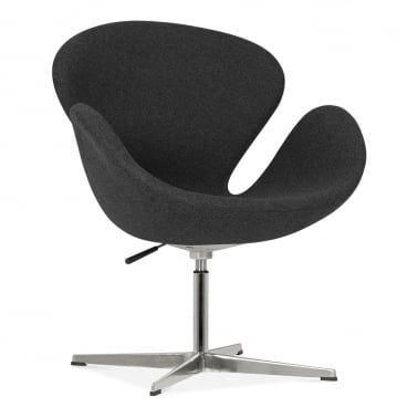 Swan Lounge Chair With Aluminium Leg - Black