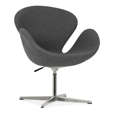 Swan Lounge Chair With Aluminium Leg - Dark Grey