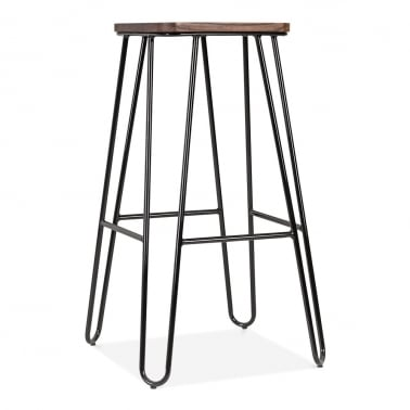 Hairpin Stool With Square Seat - Black 76cm