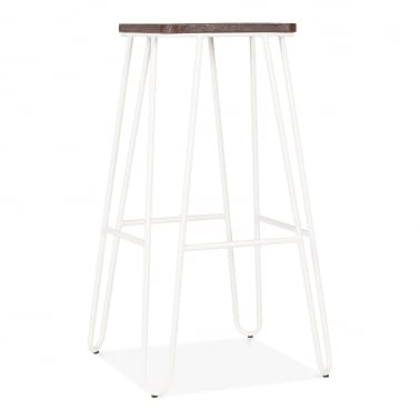Hairpin Bar Stool with Square Seat - White 76cm