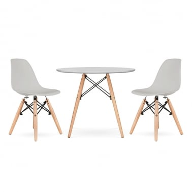 Kids DSW Dining Set - 1 Table & 2 Chairs - Light Grey
