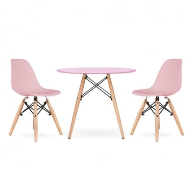 Kids DSW Dining Set - 1 Table & 2 Chairs - Pastel Pink