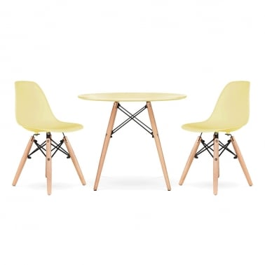 Kids DSW Dining Set - 1 Table & 2 Chairs - Lemon