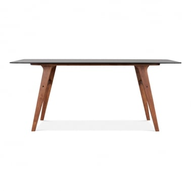 Nobel Glass Dining Table - Black / Walnut