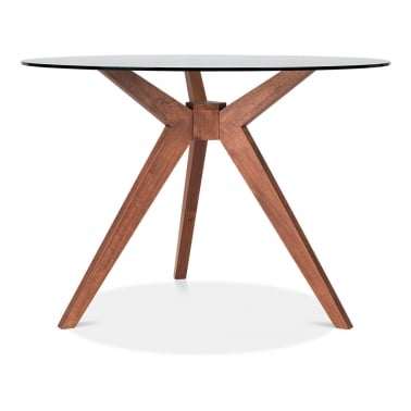 Vallentuna Glass Round Dining Table, Walnut 75cm