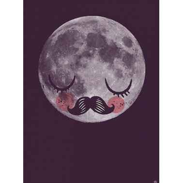 Moon Man by Martin Krusche Print, Dark Grey