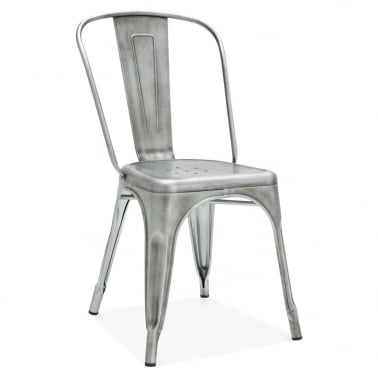 Tolix Style Metal Side Chair - Antique Silver