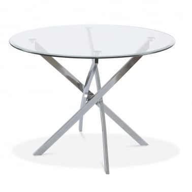 Zella Glass Table With Four Legs - Chrome