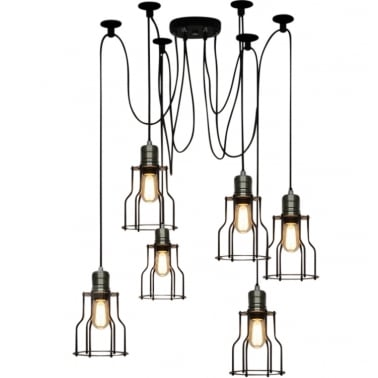 Spider Hanging Pendant Lights with Cage - Black