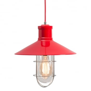 Harbour Caged Pendant Light - Red