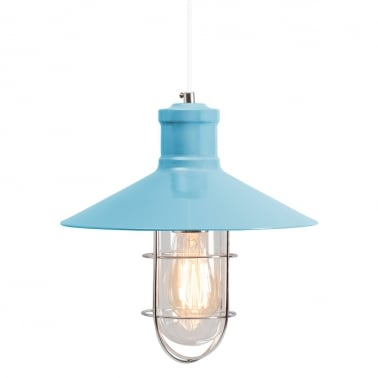 Harbour Caged Pendant Light - Bright Blue