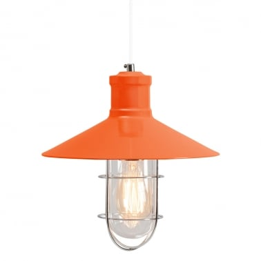 Harbour Caged Pendant Light - Orange