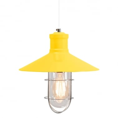 Harbour Caged Pendant Light - Yellow