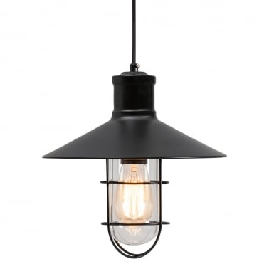 Harbour Caged Pendant Light - Black