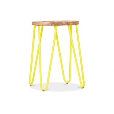 Hairpin Stool - Yellow with Natural Elm Wood Seat 44cm
