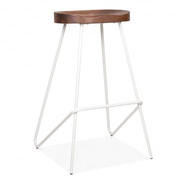 Norse Metal Bar Stool, Solid Elm Wood Seat, White 75cm