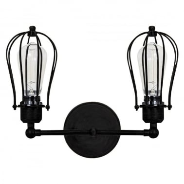 Marconi Steel Caged Double Sconce Wall Light