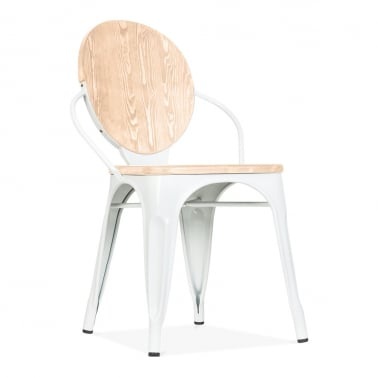 Louis Dining Chair With Option Wood Seat - White