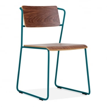 Tram Chair with Wood Seat Option - Teal