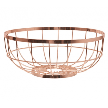 Wire Open Grid Fruit Basket, Copper