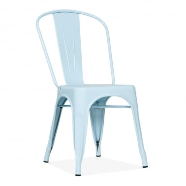 Tolix Style Metal Side Chair - Pastel Blue