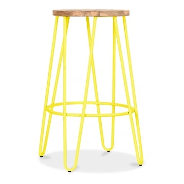 Hairpin Stool with Natural Elm Wood Seat - Yellow 66cm