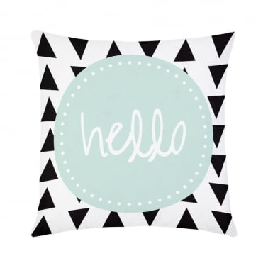 Hello Geometric Cushion - White