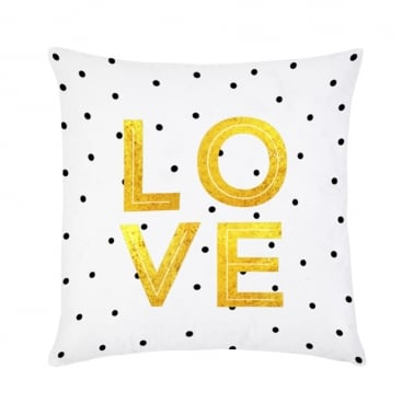 Love Cushion - Gold & White