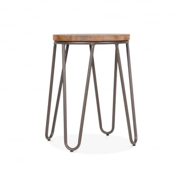 Hairpin Stool with Wood Seat Option - Rustic 44cm