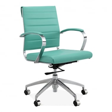 Deluxe Office Chair With Short Backrest   Turquoise