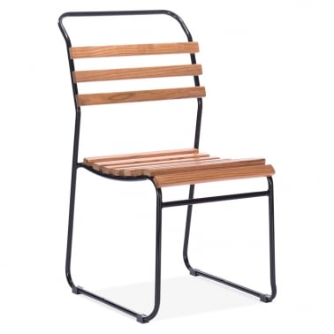 Bauhaus Stackable Chair With Slatted Seat - Black