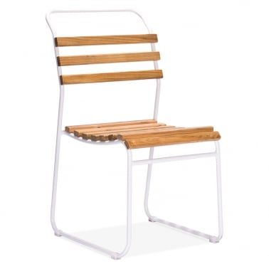 Bauhaus Stackable Chair With Slatted Seat - White