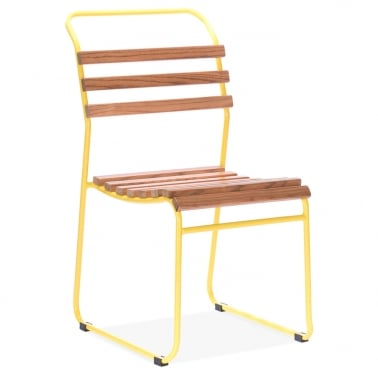 Bauhaus Stackable Chair With Slatted Seat - Yellow