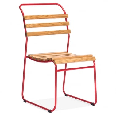 Bauhaus Stackable Chair With Slatted Seat - Red