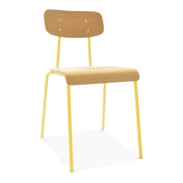 Social Metal Dining Chair - Yellow / Natural