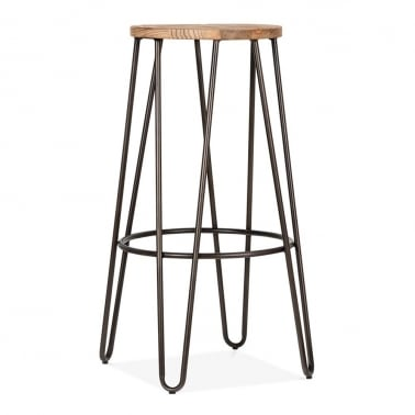 Hairpin Stool with Wood Seat Option - Rustic 76cm