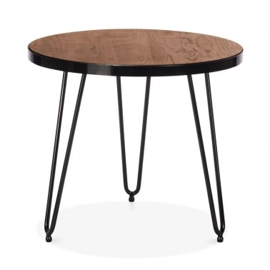 Hairpin Round Side Table - Walnut 61cm