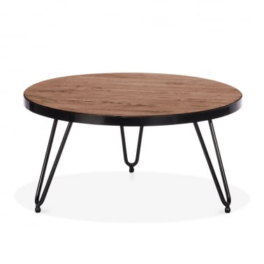 Hairpin Round Side Table - Walnut 71cm