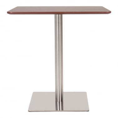 Fairway Square Table With Stainless Steel Base - Walnut / Chrome