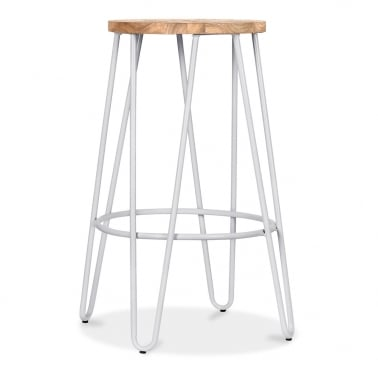 Hairpin Stool with Wood Seat Option - Light Grey Matte 66cm