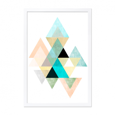 Geometric Graphic Triangle Art Framed Print - White or Black Frame