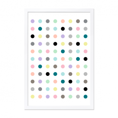 Moda Dots Framed Print - White A0 / A2