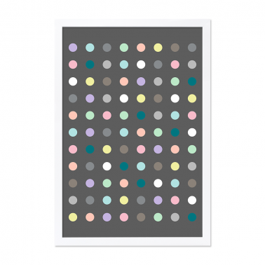 Moda Dots Framed Print - Grey A0 / A2