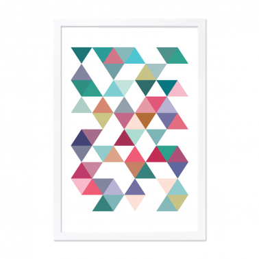 Geometric Triangle Framed Poster - Teal A2